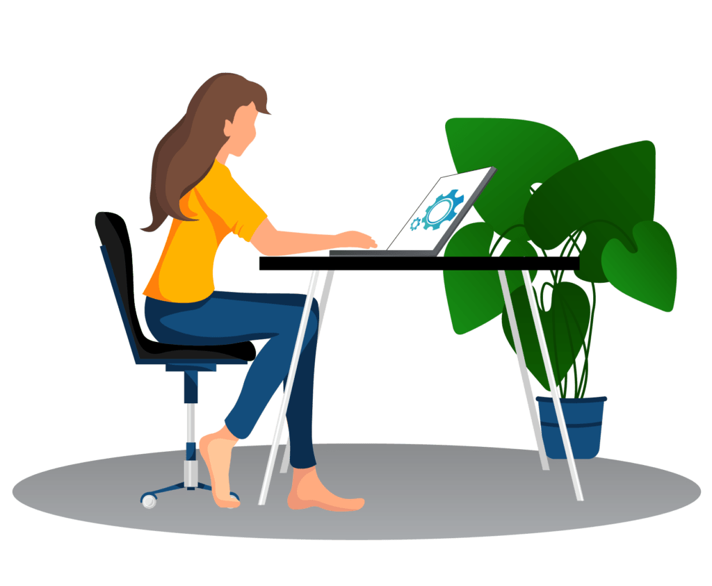 Woman sitting at desk with computer illustration